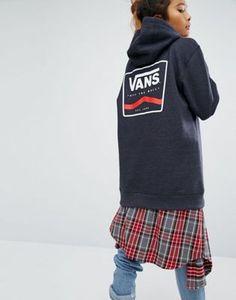 Темно-серое oversize-худи с логотипом сзади Vans