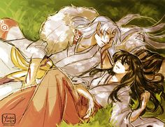 SessKag Sketch - Intimate by YoukaiYume.deviantart.com on @deviantART -Sesshomaru & Kagome
