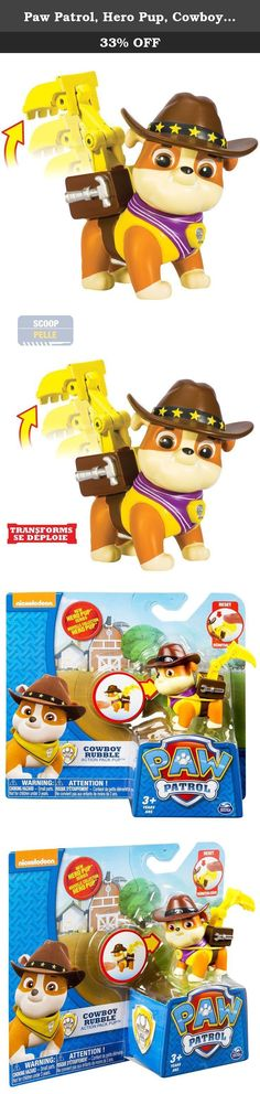 Paw Patrol, Hero Pup, Cowboy Rubble. Recreate the pups' western adventure with Cowboy Rubble! This action-packed, cowboy themed pup is one excited bulldog, ready to activate his transforming construction digger! Press Rubble's dog tag to transform his Pup Pack into a heavy lifting digger just like in the show! Need some Paw Patrol help? Collect each loveable Paw Patrol pup in the brand new Hero Series and work together as a team! Whether it's Chase, Skye, Zuma, Rocky, Marshall or Rubble...