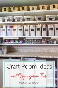 Craft Room Ideas and Organization Tips This craft room makeover post shares gre. Craft Room Ideas and Organization Tips This craft room makeover post shares great organization ide Craft Room Storage, Craft Room Decor, Craft Room Design, Storage Ideas, Craft Rooms, Budget Storage, Scrapbook Storage, Scrapbook Organization, Craft Organization