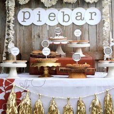 Epic Wedding Dessert Bar Ideas - Unique Wedding Cake Alternatives - Lindorelli Source by Pie Bar Wedding, Dessert Bar Wedding, Wedding Cake Flavors, Dessert Bars, Wedding Table, Wedding Ideas, Wedding Inspiration, Wedding Desert Bar, Cookie Table Wedding