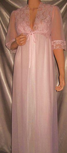 Vintage Taryn Alexander Nylon Chiffon Long Pink Nightgown Peignoir Lingerie M Pink Nightgown, Nightgowns For Women, Chiffon Gown, Nightwear, Night Gown, Style Me, Cold Shoulder Dress, Feminine, Night Time