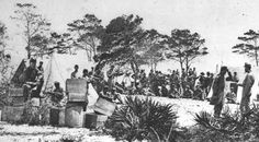 """""""A photograph of southern troops in camp near Pensacola in 1861. (Florida State Archives)."""""""