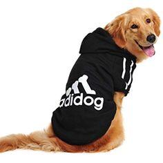 679257628 Idepet Spring Autumn Big Dog Clothes Coat Jacket Clothing for Dogs Large  Size Golden Retriever Labrador 3XL-9XL Adidog Hoodie (Black