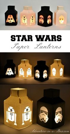 Star Wars Paper Lanterns: Make this simple Star Wars craft with paper, glue and parchment paper! Star Wars Paper Lanterns: Make this simple Star Wars craft with paper, glue and parchment paper! Bd Star Wars, Theme Star Wars, Star Wars Birthday, Diy Birthday, Star Trek, Birthday Ideas, Deco Anniversaire Star Wars, Regalos Star Wars, Star Wars Party
