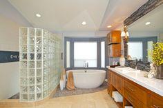briques de verre, décoration moderne et belle des salles de bains
