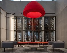 Image may contain: indoor, red and couch Adobe Photoshop Lightroom, Restaurant Design, Lounge, Indoor, Architecture, Photography, Couch, Yoga, Image