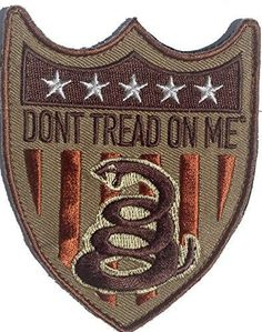 Tactical Velcro Don't Tread On Me Flag Shield Patch - By Patch Squad (Tan/Copper) - High Quality Embroidered Patch - Velcro Hook backing for attachment to Tactical Hats and Gear - Can be used with Con