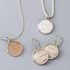 Birch Bark Pendants & Earrings