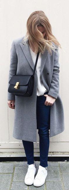 street style gray melange coat