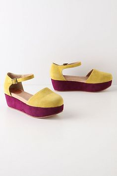 Colorblocked Flatforms by Gee Wawa: Plush, cushioned suede. $128 #Shoes #Gee_Wawa