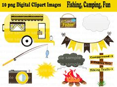 Instant Download- 10 PNG Camping Fishing Fun Digital Clipart Images Scrapbooking on Etsy, $1.50