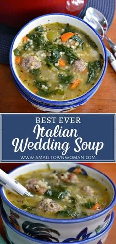 The Best Ever Italian Wedding Soup perfect for the cold weather! This hearty winter recipe is made with delicious pork and beef meatballs, onions, car Winter Soups, Winter Food, Soup Recipes, Cooking Recipes, Healthy Recipes, Budget Cooking, Oven Recipes, Vegetarian Cooking, Chili Recipes