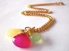 Cute! Gemstone briolette necklace hot pink chalcedony by StarJewels