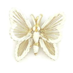 Monet White Butterfly Necklace Pendant Vintage by TheFashionDen