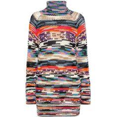 Missoni Wool-Blend Turtleneck Sweater Dress (€1.210) ❤ liked on Polyvore featuring dresses, multicoloured, polo neck dress, missoni dress, turtleneck dress, multicolored dress and multi-color dress