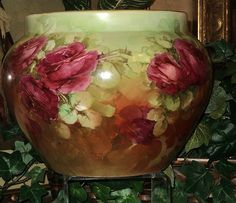 Limoges Large Jardiniere Warm Colors & Ruby Red Roses from allthingslovelee on Ruby Lane