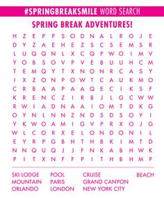 Print this word search and circle the places you can go on Spring Break! #springbreaksmile