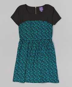 This Turquoise & Black Abstract Dress is perfect! #zulilyfinds