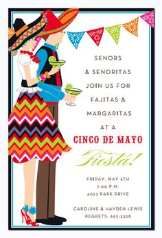 This fun and colorful invitation features a man and woman in full fiesta attire, complete with sombreros and margaritas!  Perfect for your next Fiesta or Cinco de Mayo party! Available either blank or personalized.  Includes white envelope.