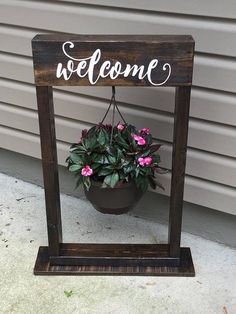 (Welcome sign optional) available in many color Decorative hanging basket stand. (Welcome sign optional) available in many color Decorative Hanging Baskets, Hanging Flower Baskets, Hanging Plants, Home Decor Baskets, Basket Decoration, Diy Wood Projects, Wood Crafts, Hanging Basket Stand, Cheap Home Decor