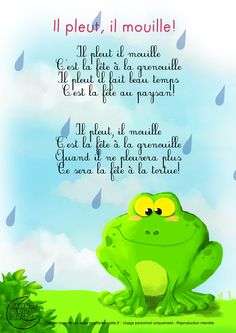 French nursery rhyme - perfect for studying the weather. There's a video, too! Il pleut, il mouille