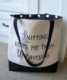 Canvas Tote for Knitters Knitting Tote by JoaniesFavoriteThing