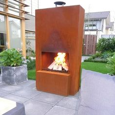 GardenMaxX Pinacate Outdoor Fireplace in Corten Steel | Costco UK -