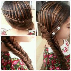 Waterfall twists into ladder dutch braid and fishtail
