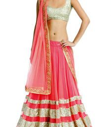 Buy Pink color fancy designer Net Wedding lehengas Online