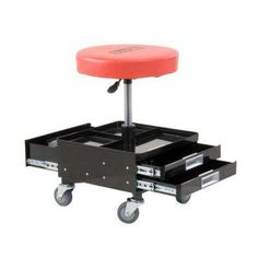 Pro-Lift Pneumatic Chair with 3 Drawers - With so many tools, spare parts, and heavy machinery lying around it can be tough to find a comfortable place to sit. The Pro-Lift Pneumatic. Garage Tools, Garage Shop, Garage Ideas, Diy Garage, Tool Storage, Garage Storage, Garage Shelving, Workbench Stool, Router Table