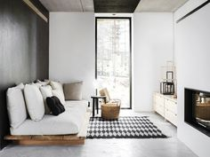 Here we showcase a a collection of perfectly minimal interior design examples for you to use as inspiration.Check out the previous post in the series: 30 Examples Of Minimal Interior Design Home Living Room, Living Room Designs, Living Spaces, Bedroom Designs, Living Area, Bed Designs, Interior Design Examples, Design Ideas, Design Trends