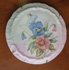 PANSIES Hand Painted China Tea Tile Trivet Caddy Wine Coaster Plate FREE SHIP #germanporcelain