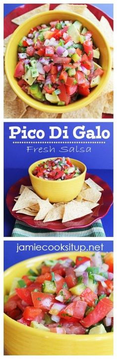 Pico De Gallo (Fresh Mexican Salsa) from Jamie Cooks It Up! Appetizer Sandwiches, Yummy Appetizers, Appetizer Recipes, Dinner Recipes, Dip Recipes, Side Dish Recipes, Veggie Recipes, Mexican Food Recipes, Summer Recipes