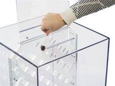 Donation Box with Prize Drop Board & Lock, Floorstanding w/ Walnut Wood Base - Clear