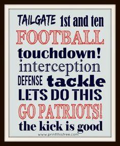 New England Patriots free print. Print this free: NFL Team Prints - Free Printables
