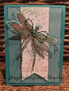 Card by Francoise Blanquet  (122916)  [Stampin' Up! (dies) Detailed Dragonfly Thinlits; (stamps) Songes De Libellule (Dragonfly Dreams)]