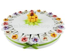 Torta bomboniera con 22 fette soggetto coccinella su fiore confetti a scelta inclusi #tortabomboniera #portachiavi #ideabomboniera