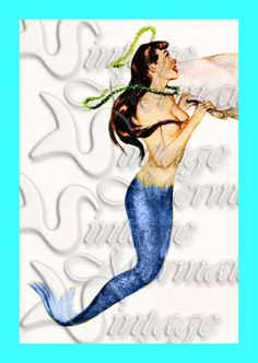 Pinup Mermaids s308 Pinup Mermaid Card by wwwvintagemermaidcom, $7.00