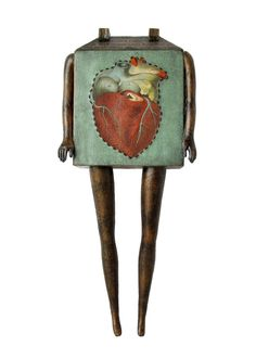 Doll House no 377 (with anatomical heart) - Mixed Media Assemblage Sculpture by Suzanna Scott