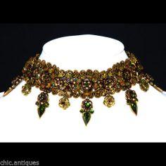 Michal Negrin Crystal Rhinestone Necklace Antique Gold Green $600 Retail | eBay
