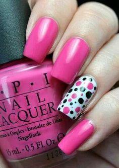 #pokadot #pink nails