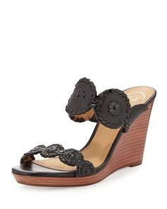 Luccia Leather Wedge Sandal, Black
