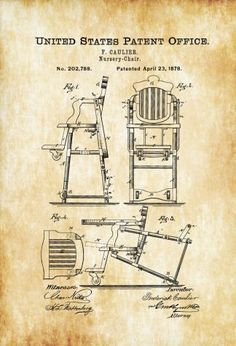 1878 Baby High Chair Patent - Baby Room Decor, Patent Print, Vintage High Chair, Baby Shower Gift, Nursery Chair, Chair Patent