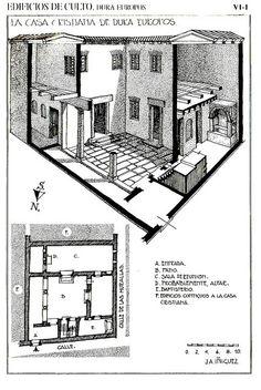 Dura Europos planta y reconstrucción de la casa. Casa griega típica del S.III: peristilo y habitaciones que posteriormente fueron modificadas para el culto (para 60 personas). Baptisterio era una sala rectangular cubierta de madera y pila de mampostería adosada a la pared.