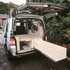 Innovative, easy assemble, campervan units for self build, DIY camper conversions from The Ply Guys. Van Conversion Interior, Camper Van Conversion Diy, Van Interior, Van Conversion Bed Ideas, T4 Camper Interior Ideas, Campervan Bed, Campervan Furniture, Vw California T6, Hiace Camper