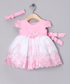 Take a look at this Light Pink & White Dress & Headband - Infant by Sugar & Spice Collection on #zulily today!