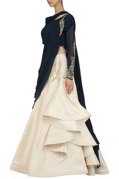Gaurav Gupta presents Midnight blue and ecru off shoulder saree lehenga available only at Pernia's Pop Up Shop. Indian Designer Outfits, Indian Outfits, Designer Dresses, Lehnga Dress, Saree Gown, Sarara Dress, Dhoti Saree, Lehenga Choli, Kurti Designs Party Wear