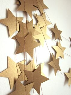 Antique Gold Stars Garland - Party Garland - New Years Garland - Christmas Garland - Custom Colors. $15.00, via Etsy.