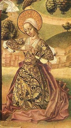 1500 Spanish natural waist gown (Saya) detail from the Crucifixion by the Master of the Budapest Crucifixion